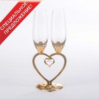 ST-WEDDING4/PG (8) 29см, 250мл Свадебные бокалы на ножке в виде сердца, золото