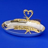 U-3021/SGH (96) 11,5*9*4см Блюдце для колец овал с сердцем, позолоченное