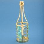 U-3375/GG (288) 3,5*3,5*11см Бутылка шампанского с 6-ю зелеными хрусталиками, позолоченная