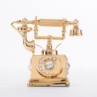 U-3462/G (144) 6*5*6см. Телефон с 5 прозрачными хрусталиками, позолоченный