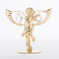 U-3546/G (288) 7*3,2*6,5см Ангел с флейтой с 2 хрусталиками, позолоченная
