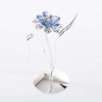 U-4318/SB  (72) 18*6*15см Цветок с 5-ю голубыми хрусталиками, посеребренный