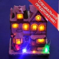 XJ-11180 (6) 20*14*25см. Новогодний дом-кафе на батарейках и с адаптером