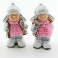 Q-25801 (24наб.) 8*6*15.5см. Набор из 2-х детей в розовых пуховичках и шапках