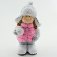 Q-25802 (16наб.) 9*8*19см. Набор из 2-х девочек со снежком в розовом пуховичке и шапке