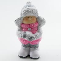 Q-25803 (16наб.) 9*8*20см. Набор из 2-х мальчиков со снежком в розовом пуховичке и шапке
