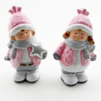 Q-25807 (24наб.) 9*7*16см. Набор из 2-х детей в розовом пуховичке и шапке, 2вида