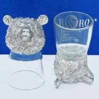 R-94725 (20)  d=4.5см h=8.5см  Набор из 2-х стопок с медведем (18K Silverplated), 50мл/стопка