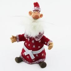 """RK-118 13*9*19 см  Керамический болванчик с качающейся головой """"Дед Мороз в красной шубе"""""""
