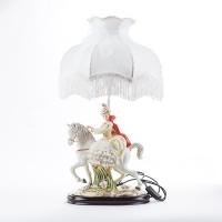 """QP-80215L (4) d=36см, h=65см Лампа с фарфоровой статуэткой """"Девушка на коне"""""""