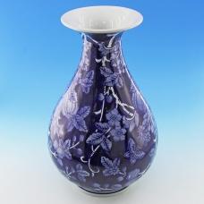 FY-50601 (6) d=17, h=29см Фарфоровая ваза белая с синим орнаментом