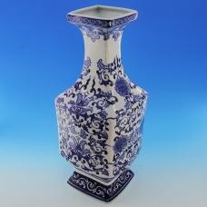 FY-50609 (4) 18*18*46см Фарфоровая ваза белая с синим орнаментом