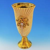YC-70507 (6) 17*15*37см Керамическая ваза золотого цвета
