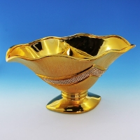 YC-70519 (6) 30,5*18*15,5см Керамическая ваза для фруктов золотого цвета