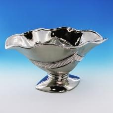 YC-70521 (6) 30,5*18*15,5см Керамическая ваза для фруктов серого цвета
