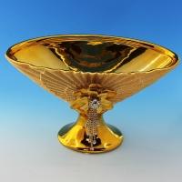YC-70525 (8) 29,5*16*18см Керамическая ваза для фруктов золотого цвета