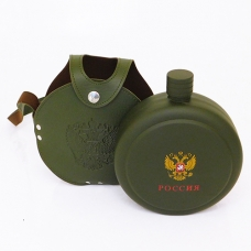 YX-42 Фляжка круглая в кожаном чехле, 1250 мл