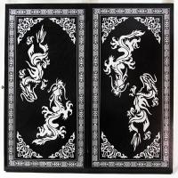 033-11 Нарды большие, черные, рисунок серебро