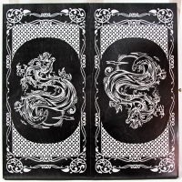 073-12 Нарды большие, черные, рисунок серебро