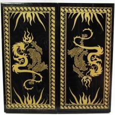 018-09 Нарды малые, черные, рисунок золото
