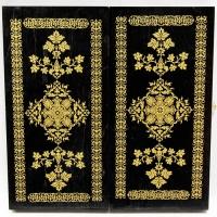043-11 Нарды дорожные, черные, рис.золото