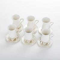 SA-5328/SL  Набор из 6 стаканов с блюдцами, 10*7*11см/d=12cм/39*34*12,5см, 200мл/стакан