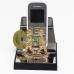 """ST-4485-23/6СGA (48) Подставка для телефона  """"Близнецы""""  с зелен. хрусталиком, 9*9*9см"""